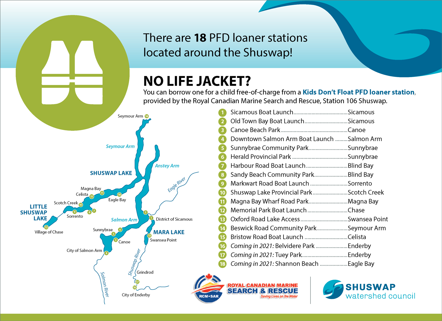 Map of PFD loaner stations in the Shuswap